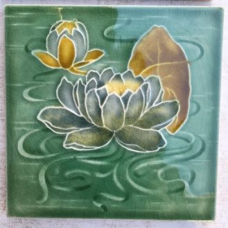Maw & Co c1870-1900 Victorian fireplace tiles, green water lilies, set of 4, $45 each WS salvaged, recycled, demolition, reproduction, restoration, renovation,collectable, secondhand, used , original, old, reclaimed, heritage, antique, victorian, edwardian, georgian, deco