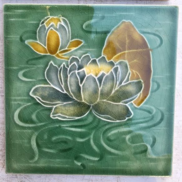 Maw & Co c1870-1900 Victorian fireplace tiles, green water lilies, set of 4, $45 each WS salvaged, recycled, demolition, reproduction, restoration, renovation,collectable, secondhand, used , original, old, reclaimed, heritage, antique, victorian, edwardian, georgian, deco salvaged recycled demolition, reproduction, restoration, renovation,collectable, secondhand, used , original, old, reclaimed, heritage, antique, victorian, edwardian, georgian art nouveau ceramic arts and crafts decorative aesthetic
