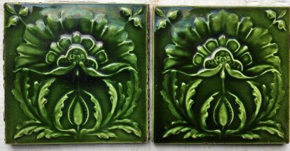 Victorian fireplace tiles 6x6 inch, green glaze on relief flower motif 2 available SET 80 $65 for the set salvaged, recycled, demolition, reproduction, restoration, renovation,collectable, secondhand, used , original, old, reclaimed, heritage, antique, victorian, edwardian, georgian, deco fireplace tile