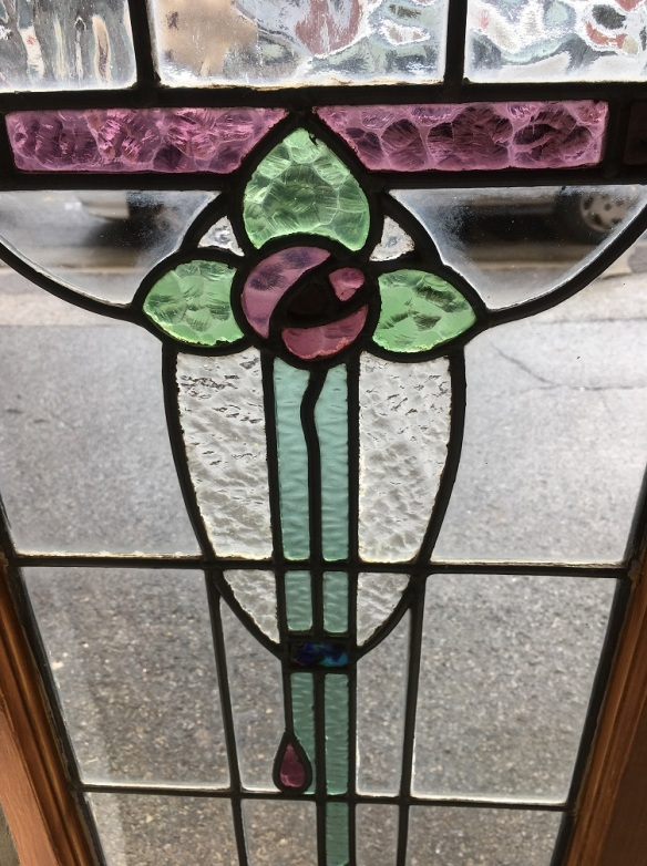 salvaged, recycled, demolition, reproduction, restoration, renovation,collectable, secondhand, used , original, old, reclaimed, heritage, antique, victorian, edwardian, georgian, deco Circa 1910 leadlight windows, mauve, green and clear floral motif, frame 395mm x 895mm glass 310mm x 770mm, 4 available $185 each