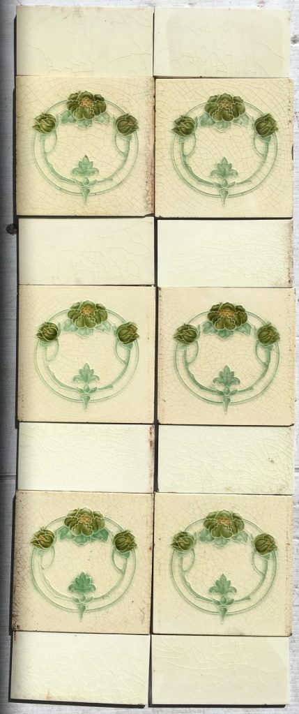 T and R Boote fireplace tiles c 1862 - 1910. Green flowers and buds on a cream background (note: the tile edges are covered by the fireplace frame) Full set $190, SET 92 salvaged recycled demolition, reproduction, restoration, renovation,collectable, secondhand, used , original, old, reclaimed, heritage, antique, victorian, edwardian, georgian art nouveau ceramic arts and crafts decorative aesthetic