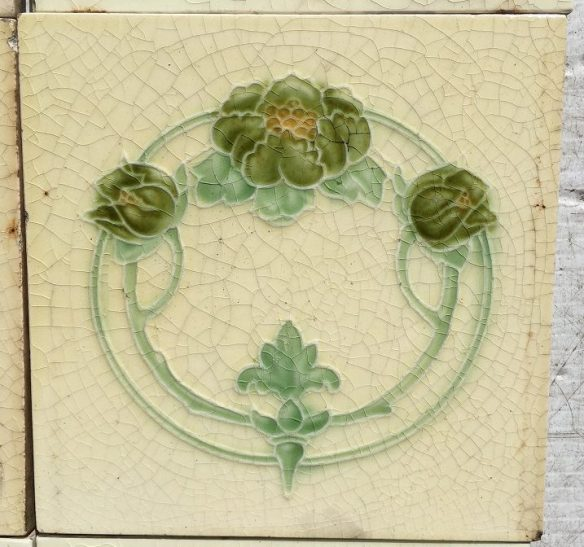 salvaged, recycled, demolition, reproduction, restoration, renovation,collectable, secondhand, used , original, old, reclaimed, heritage, antique, victorian, edwardian, georgian, deco T and R Boote fireplace tiles c 1862 - 1910. Green flowers and buds on a cream background (note: the tile edges are covered by the fireplace frame) Full set $190, SET 92 salvaged recycled demolition, reproduction, restoration, renovation,collectable, secondhand, used , original, old, reclaimed, heritage, antique, victorian, edwardian, georgian art nouveau ceramic arts and crafts decorative aesthetic