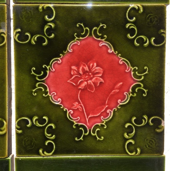 Original Victorian fireplace tiles, green and burgundy moulded tiles, full two panel fireplace set $250, SET 100 salvaged recycled demolition, reproduction, restoration, renovation,collectable, secondhand, used , original, old, reclaimed, heritage, antique, victorian, edwardian, georgian art nouveau ceramic arts and crafts decorative aesthetic