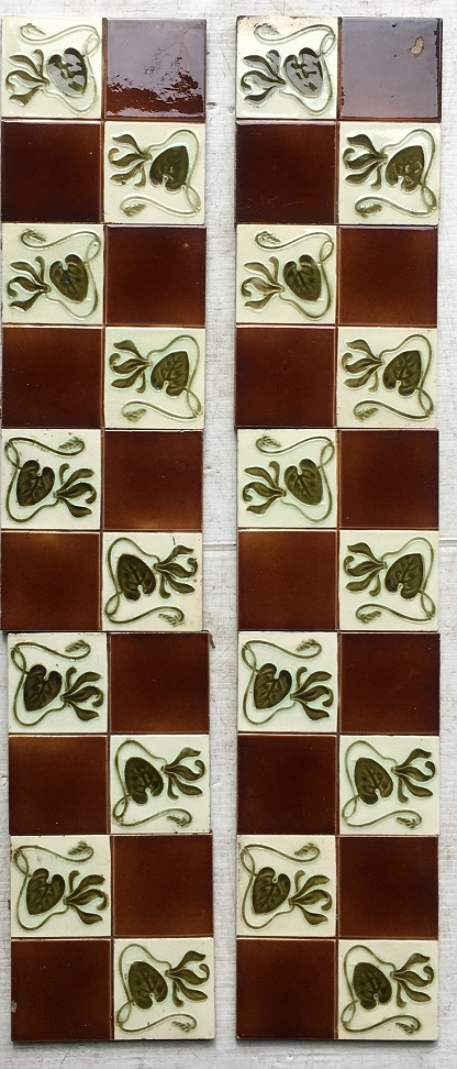 Detail of early 20th century fireplace tile possibly H Richards Tile Co, green leaf design on white and brown background (Chip in one tile face - may be hidden in a fireplace insert), $320 for the full set, SET 96