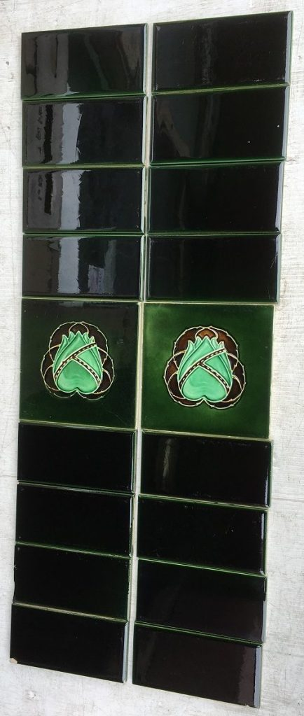 H Richards Tile Co c1902-1909, deep brown and green floral motif, $130 for the full fireplace set (SET 97)salvaged, recycled, demolition, reproduction, restoration, renovation,collectable, secondhand, used , original, old, reclaimed, heritage, antique, victorian, edwardian, georgian, deco