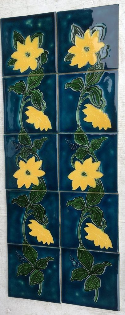 salvaged, recycled, demolition, reproduction, restoration, renovation,collectable, secondhand, used , original, old, reclaimed, heritage, antique, victorian, edwardian, georgian, deco New Zealand Porteous tiles, continuous flower pattern, yellow flower on blue ground, $300 for the ten tile fireplace set, $300 SET 98