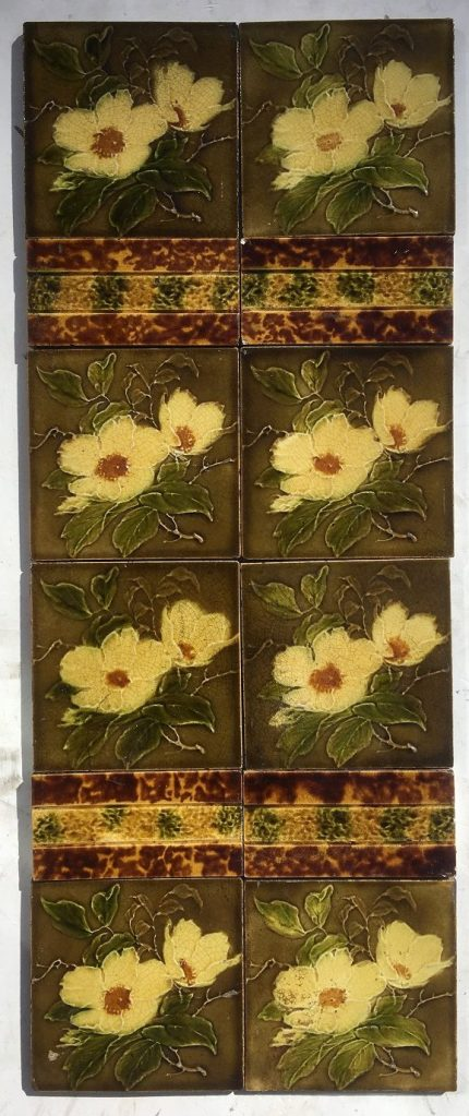 H. Richards Tile Co picture tiles c1902-1909. fireplace tile set or two panels $265 SET 105 salvaged recycled demolition, reproduction, restoration, renovation,collectable, secondhand, used , original, old, reclaimed, heritage, antique, victorian, edwardian, georgian art nouveau ceramic arts and crafts decorative aesthetic