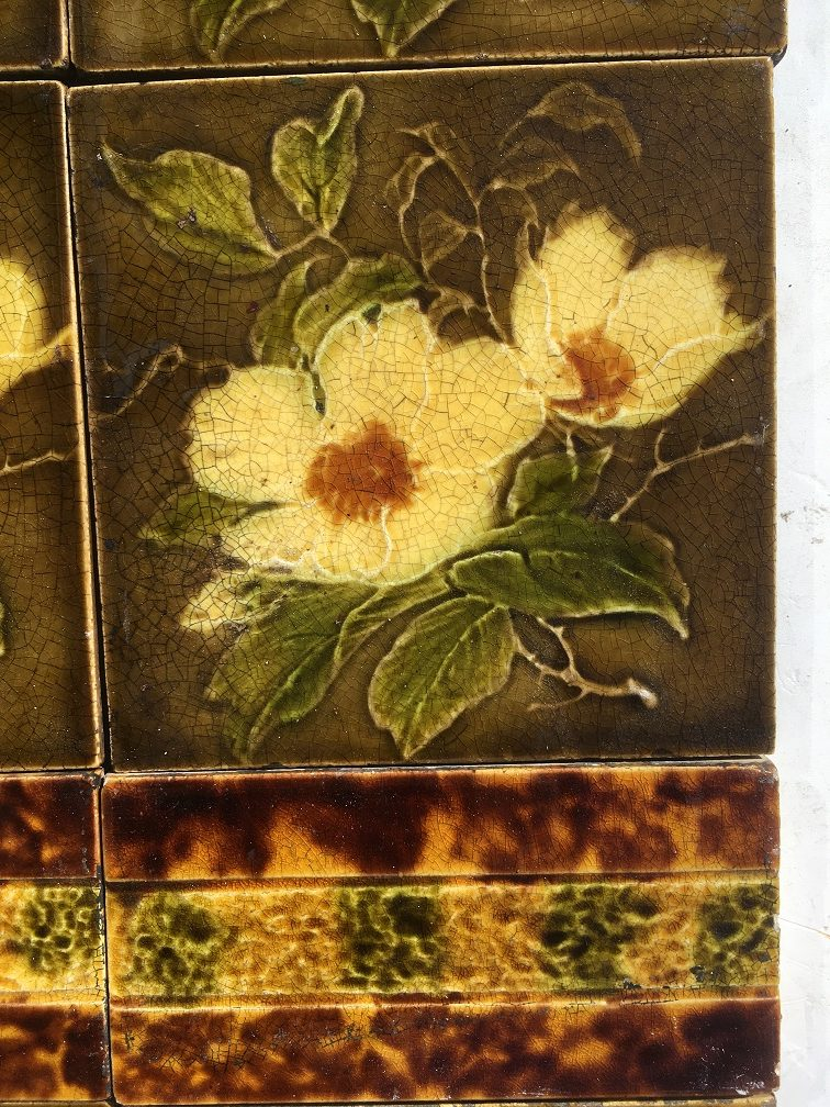 salvaged recycled demolition, reproduction, restoration, renovation,collectable, secondhand, used , original, old, reclaimed, heritage, antique, victorian, edwardian, georgian art nouveau ceramic arts and crafts decorative aesthetic detail of H. Richards Tile Co picture tiles c1902-1909. fireplace tile set or two panels $265 SET 105