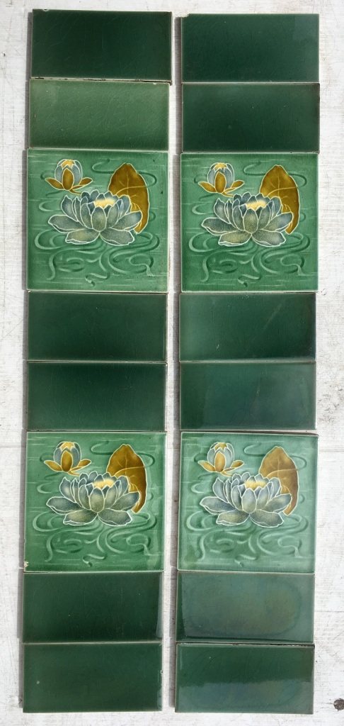 ON HOLD Malkin Edge and Co c1870-1900 Victorian fireplace tiles, green water lilies, 4 picture tiles in fireplace set