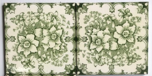 set 112 T and R Boote fireplace tiles, c 1862-1910 deep green transfer print on cream base 6x6 inch, 3 available $27.50 each salvaged recycled demolition, reproduction, restoration, renovation,collectable, secondhand, used , original, old, reclaimed, heritage, antique, victorian, edwardian, georgian art nouveau ceramic arts and crafts decorative aesthetic