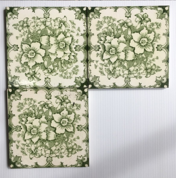 set 112 T and R Boote fireplace tiles, c 1862-1910 deep green transfer print on cream base 6x6 inch, 3 available $27.50 each
