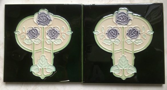salvaged recycled demolition, reproduction, restoration, renovation,collectable, secondhand, used , original, old, reclaimed, heritage, antique, victorian, edwardian, georgian art nouveau ceramic arts and crafts decorative aesthetic Reproduction fireplace tiles 6 x 6 inch deep green and cream background, lavender flowers. $33 each set 110