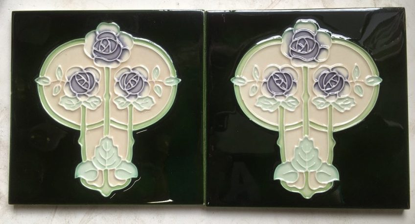 Reproduction fireplace tiles 6 x 6 inch deep green and cream background, lavender flowers. $60 pair SET 110 salvaged recycled demolition, reproduction, restoration, renovation,collectable, secondhand, used , original, old, reclaimed, heritage, antique, victorian, edwardian, georgian art nouveau ceramic arts and crafts decorative aesthetic Reproduction fireplace tiles 6 x 6 inch deep green and cream background, lavender flowers. $33 each set 110