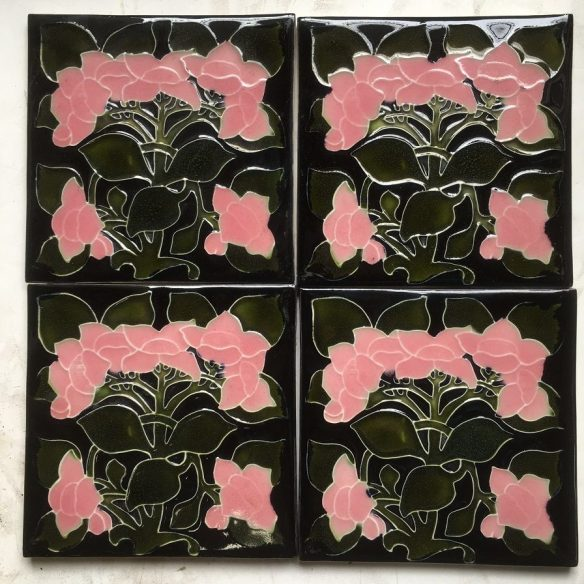salvaged, recycled, demolition, reproduction, restoration, renovation,collectable, secondhand, used , original, old, reclaimed, heritage, antique, victorian, edwardian, georgian, Porteous Tile Co NZ reproduction fireplace tiles x 4 available. Black background, pink flowers, deep green leaves. $33 each SET 109