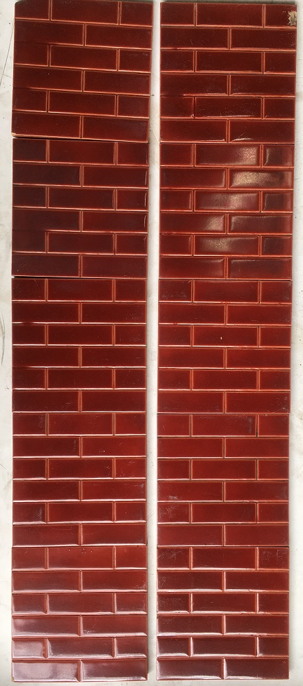 salvaged recycled demolition, reproduction, restoration, renovation,collectable, secondhand, used , original, old, reclaimed, heritage, antique, victorian, edwardian, georgian art nouveau ceramic arts and crafts decorative aesthetic Godwin and Hewitt c1891-1900 fireplace tile set, burgundy small brick pattern $275 for the 10 tile set SET 103