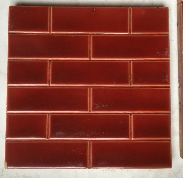 Godwin and Hewitt c1891-1900 fireplace tile set (detail of one tile), burgundy small brick pattern $275 for the 10 tile set SET 103 salvaged, recycled, demolition, reproduction, restoration, renovation,collectable, secondhand, used , original, old, reclaimed, heritage, antique, victorian, edwardian, georgian, deco Godwin and Hewitt c1891-1900 fireplace tile set, burgundy small brick pattern $275 for the 10 tile set SET 102 salvaged recycled demolition, reproduction, restoration, renovation,collectable, secondhand, used , original, old, reclaimed, heritage, antique, victorian, edwardian, georgian art nouveau ceramic arts and crafts decorative aesthetic