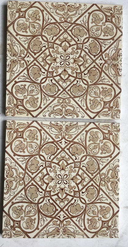 Likely Pilkington Tile and Pottery Co, turn of the century. Fine detail transfer print in warm brown on pale cream background, hearts in the design. $65 pair. SET 106 salvaged recycled demolition, reproduction, restoration, renovation,collectable, secondhand, used , original, old, reclaimed, heritage, antique, victorian, edwardian, georgian art nouveau ceramic arts and crafts decorative aesthetic