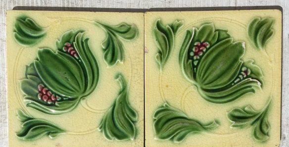 original Art Nouveau fireplace tile pair, light yellow background, burgundy berries. $60 for the pair SET 111