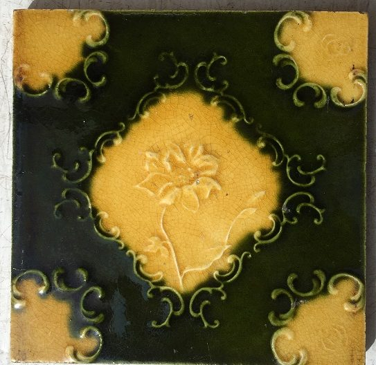set 104 salvaged, recycled, demolition, reproduction, restoration, renovation,collectable, secondhand, used , original, old, reclaimed, heritage, antique, victorian, edwardian, georgian, Original Victorian fireplace tiles, deep green and warm yellow glaze, flower design. 8 available $27.50 each salvaged recycled demolition, reproduction, restoration, renovation,collectable, secondhand, used , original, old, reclaimed, heritage, antique, victorian, edwardian, georgian art nouveau ceramic arts and crafts decorative aesthetic