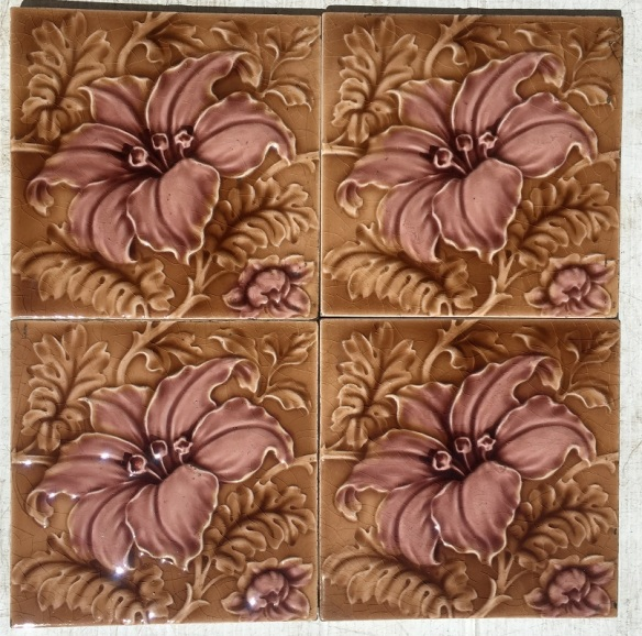 108 Sherwin and Cotton tiles c1890-1911 light brown and dusky pink glazed flower $35 each