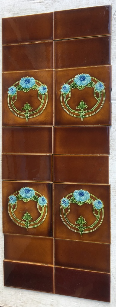 Original Art Nouveau T & R Boote fireplace tiles, England c1905, circular design, blue flowers on brown glaze, two panel fireplace set $260 OTB 111 salvaged, vintage recycled, demolition, reproduction, restoration, home renovation secondhand, used , original, old, reclaimed, heritage, antique, victorian, art nouveau edwardian, georgian, art decoDetail of Deco style lettering to pub door