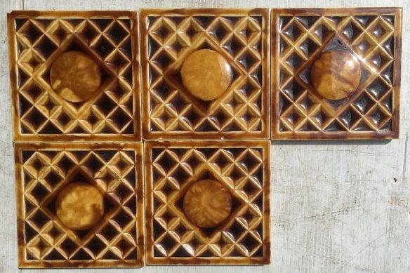 Original Victorian 6x6 inch tiles, amber glaze, $45 each