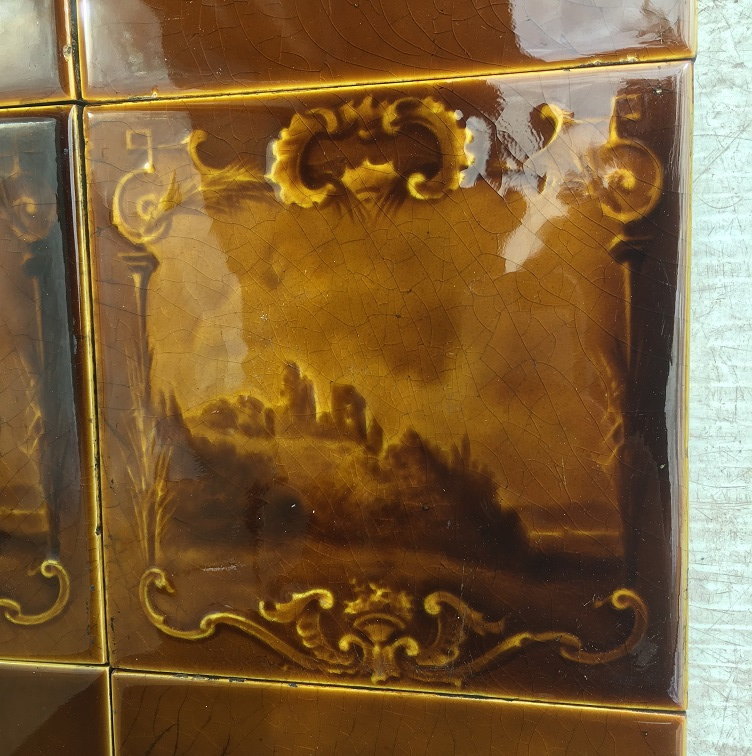 Sherwin and Cotton fireplace tile set (detail) c1890-1911 landscape with castle ruins, light brown glaze $280 set 115