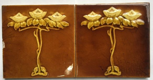 Sherwin and Cotton 6x6 inch fireplace tiles c1890-1911 honey brown glaze Art Nouveau floral motif $50 pair SET 123 salvaged recycled demolition, reproduction, restoration, renovation,collectable, secondhand, used , original, old, reclaimed, heritage, antique, victorian, edwardian, georgian art nouveau ceramic arts and crafts decorative aesthetic