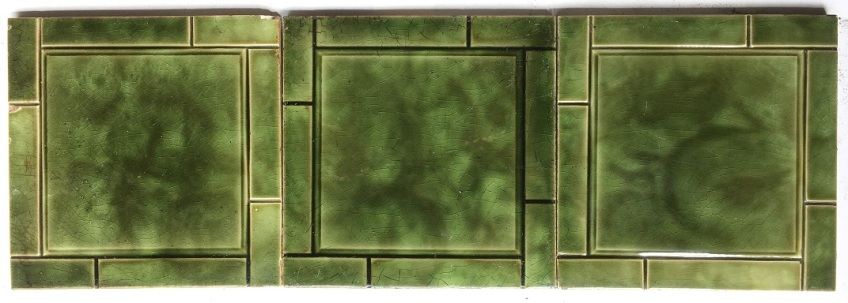 salvaged washstand recycled demolition, reproduction, restoration, renovation,collectable, secondhand, used , original, old, reclaimed, heritage, antique, victorian, edwardian, georgian art nouveau ceramic arts and crafts decorative aesthetic Sherwin and Cotton 6x6 inch fireplace tiles c1890-1911 olive green glaze 3 available $20 each SET 124 salvaged recycled demolition, reproduction, restoration, renovation,collectable, secondhand, used , original, old, reclaimed, heritage, antique, victorian, edwardian, georgian art nouveau ceramic arts and crafts decorative aesthetic