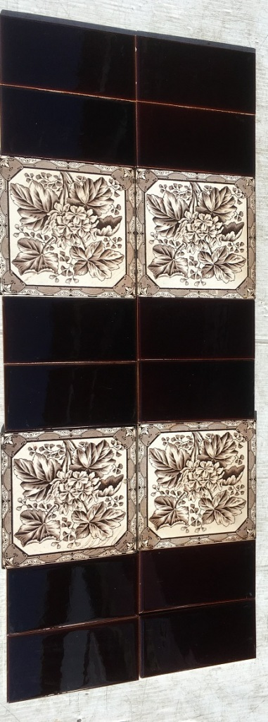 Sherwin and Cotton fireplace tile set c 1877-1900, deep chocolate brown transfer print on white background $220 set 123 salvaged recycled demolition, reproduction, restoration, renovation,collectable, secondhand, used , original, old, reclaimed, heritage, antique, victorian, edwardian, georgian art nouveau ceramic arts and crafts decorative aesthetic
