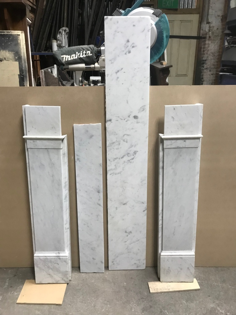 salvaged, recycled, demolition, reproduction, restoration, renovation,collectable, secondhand, used , original, old, reclaimed, heritage, antique, victorian, edwardian, georgian, deco Original Georgian marble mantle piece ( restored ) , picture showing, top shelf, breast plate and 2 legs , $ 2200 , G1