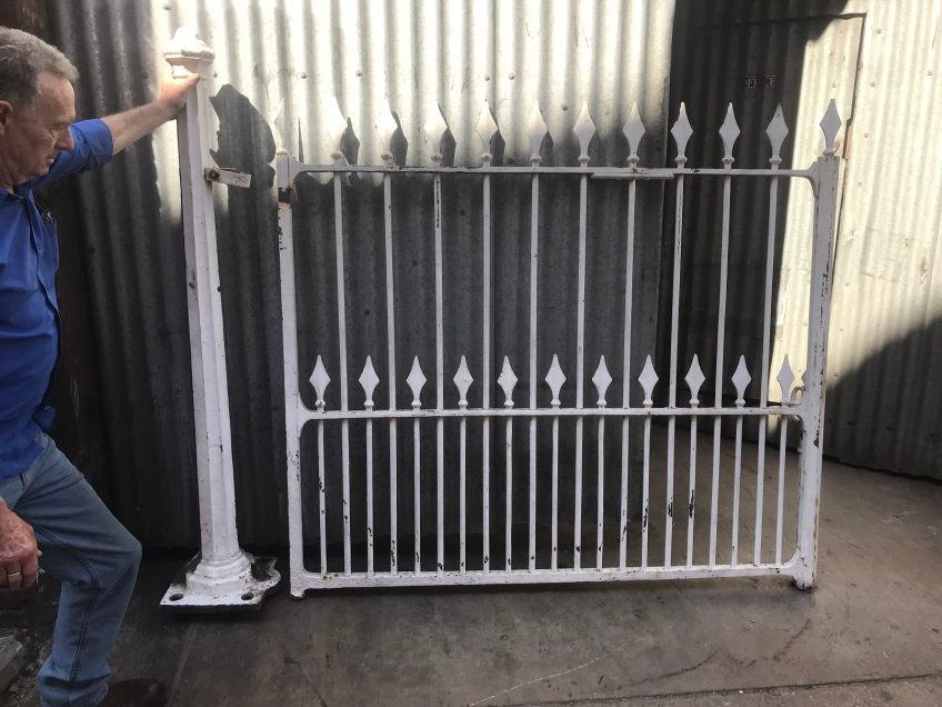 salvaged, recycled, demolition, reproduction, restoration, renovation,collectable, secondhand, used , original, old, reclaimed, heritage, antique, victorian, edwardian, georgian, deco Original pair of cast iron Victorian gates with original cast iron posts, gates are appx 3400 mm wide x 1560 mm tall , posts are 1670 mm tall