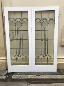 salvaged, recycled, demolition, reproduction, restoration, renovation,collectable, secondhand, used , original, old, reclaimed, heritage, antique, victorian, edwardian, georgian, deco Original pair of lead light french doors, 1600 mm wide x 2030 mm tall $ 950 the pair