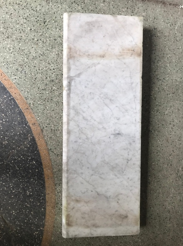 salvaged, recycled, demolition, reproduction, restoration, renovation,collectable, secondhand, used , original, old, reclaimed, heritage, antique, victorian, edwardian, georgian, deco Original bullnose marble step, 835 mm x 300 mm x 50 mm thick , $ 120
