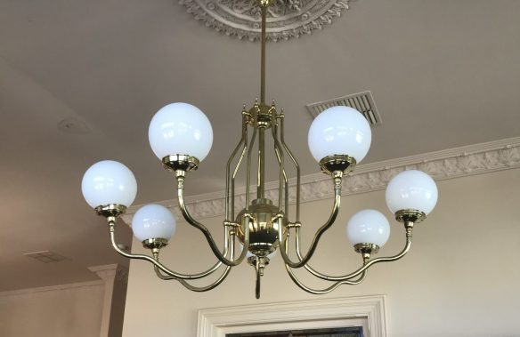 salvaged, recycled, demolition, reproduction, restoration, renovation,collectable, secondhand, used , original, old, reclaimed, heritage, antique, victorian, edwardian, georgian, deco 7 branch brass light with white ball shades 1450 mm drop, $ 795