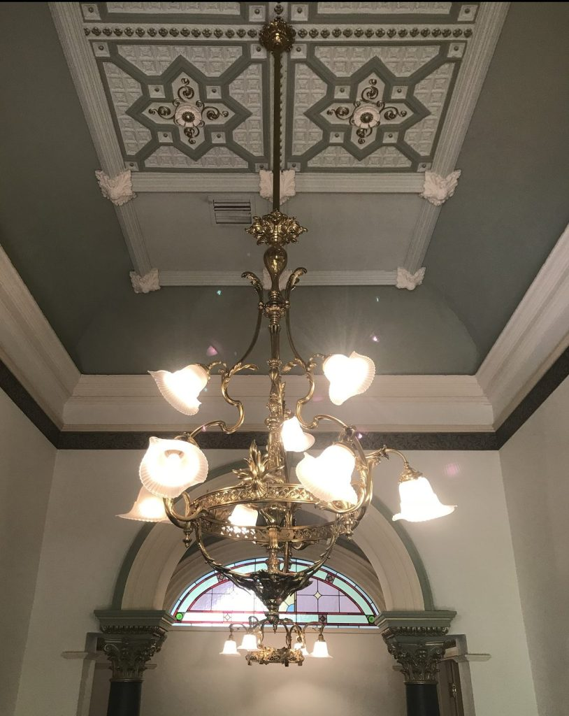 salvaged, recycled, demolition, reproduction, restoration, renovation,collectable, secondhand, used , original, old, reclaimed, heritage, antique, victorian, edwardian, georgian, deco Very decorative large brass light, with 9 shades, 2300 mm drop, $ 975