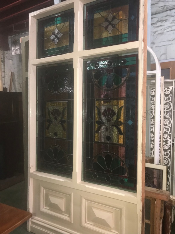 salvaged, recycled, demolition, reproduction, restoration, renovation,collectable, secondhand, used , original, old, reclaimed, heritage, antique, victorian, edwardian, georgian, deco Large timber fixed panel with colourful leadlight, , frame is 1510 mm wide x 2880 mm tall , $ 3300