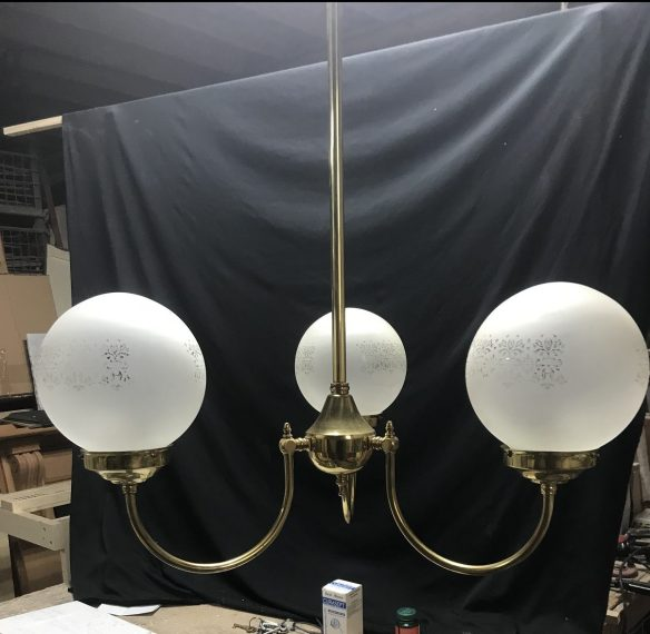 salvaged, recycled, demolition, reproduction, restoration, renovation,collectable, secondhand, used , original, old, reclaimed, heritage, antique, victorian, edwardian, georgian, deco 3 branch light , with etched glass shades , 3 available , $ 125 each