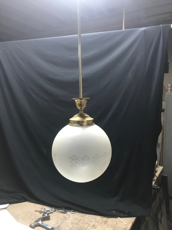 salvaged, recycled, demolition, reproduction, restoration, renovation,collectable, secondhand, used , original, old, reclaimed, heritage, antique, victorian, edwardian, georgian, deco single ball , brass pendant light, with etched shades , 3 available , $ 60 each