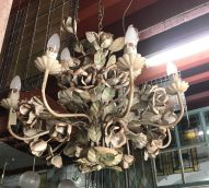 salvaged, recycled, demolition, reproduction, restoration, renovation,collectable, secondhand, used , original, old, reclaimed, heritage, antique, victorian, edwardian, georgian, deco wrought iron light with rose motif's $ 385