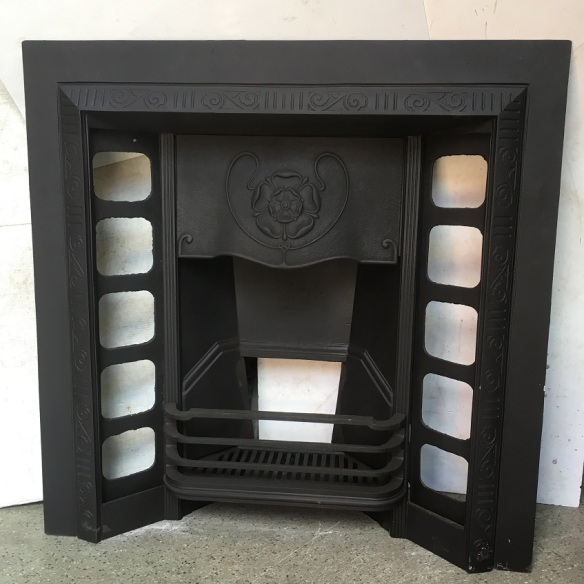 Restored original cast iron fireplace insert, $550 wood burner, open fire