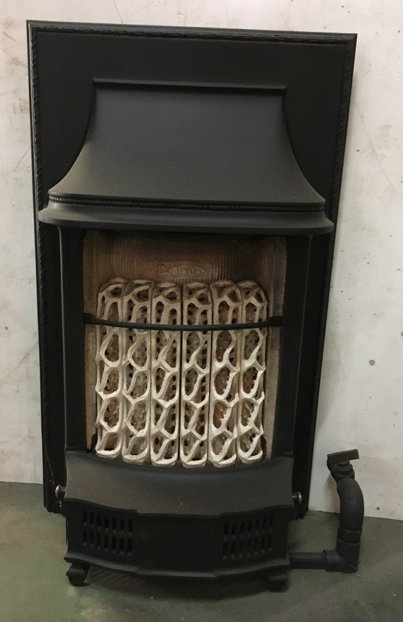 Early gas fire, with unusual ceramic candles, all complete, for decorative use only h610 x w370mm $220 heritage salvage old restoration