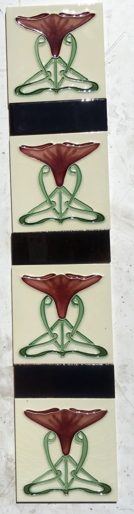 Art Nouveau style fireplace set, reproduction, burgundy flower, green stems on white background. $260 OTB