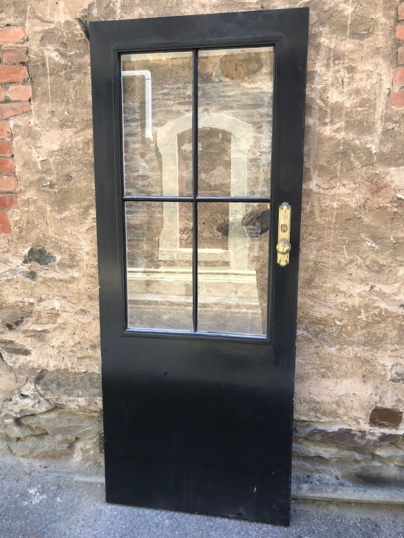 salvaged, recycled, demolition, reproduction, restoration, renovation,collectable, secondhand, used , original, old, reclaimed, heritage, antique, victorian, edwardian, georgian, deco Door with 4 panels of glass, 817 mm x 2030 mm , $ 175