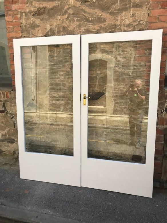 Pair of french doors with cut glass panels, 1900 wide x 2030 , $ 545 ON HOLD