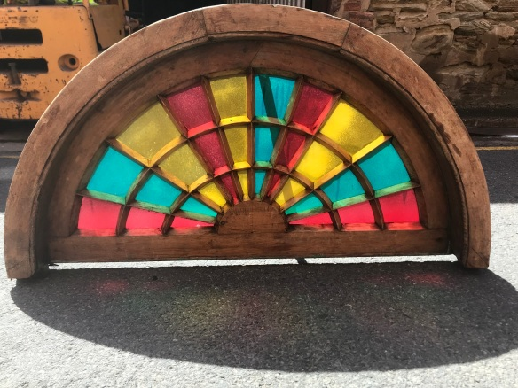 salvaged, recycled, demolition, reproduction, restoration, renovation,collectable, secondhand, used , original, old, reclaimed, heritage, antique, victorian, edwardian, georgian, deco Lovely, arched fanlight with colourful glass panels and fine radials in the joinery, $ 545