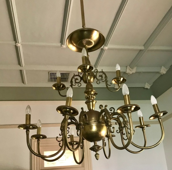 Large brass chandelier, two tiers with 12 candles. diam 1050mm x drop 1900mm $795