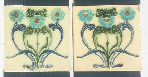 salvaged washstand recycled demolition, reproduction, restoration, renovation,collectable, secondhand, used , original, old, reclaimed, heritage, antique, victorian, edwardian, georgian art nouveau ceramic arts and crafts decorative aesthetic Original English Art Nouveau picture tiles, one pair $85 WS