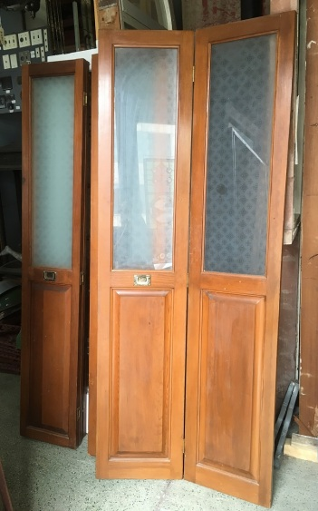 Bifold doors, four sets available, pattern etched glass $80 each hinged pair