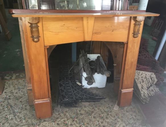Timber mantel original with half turnings, top shelf width 1395mm $330